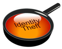 Identity theft. Magnifying glass over top of identity theft royalty free illustration