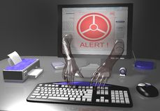 Identity theft alert. Security alert pc system with monitor Stock Photography