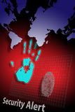 Identity theft Alert 2. Security alert pc system with monitor and finger prints