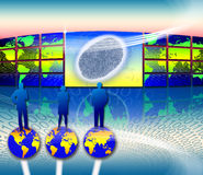 Identity theft biometric. An image for the concept of Strategic Marketing Planning Success and identity theft. Showing an graphic of the planet earth on a video vector illustration