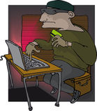 Identity theft. Burglar stealing credit card details via laptop and internet Stock Photo