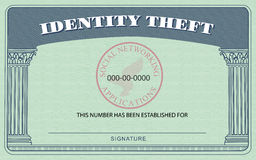 Identity Theft Card. Identification Card modeled after the American Social Security Card, but boasting Identity Theft on top in place of Social Security royalty free illustration