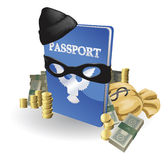Identity theft concept. Passport with wearing burglar outfit surrounded by stacks of money vector illustration