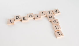 Identity Theft Concept. Identity theft spelled in Scrabble letters with US passport out of focus in the background. on white background royalty free stock photography