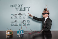 Identity Theft concept with vintage businessman Stock Photography
