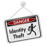 Identity theft danger sign on white. ID theft danger sign, A black and white danger hanging sign with text Identity theft and theft icon isolated over white royalty free illustration