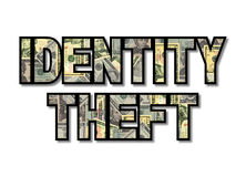 Identity theft with dollars. Identity theft text with American dollars illustration royalty free illustration