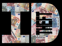 Identity theft with Euros. Identity theft text with Euros background royalty free illustration