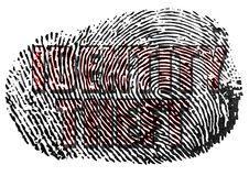 Identity Theft fingerprint. Fingerprint on white with Identity Theft text royalty free illustration