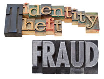 Identity theft and fraud in letterpress type. Identity theft and fraud - a collage of isolated words in vintage wood and metal letterpress printing blocks royalty free stock photos