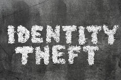 Identity theft. Phrase made from shredded paper on blackboard surface royalty free stock photo