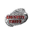 Identity Theft print. Isolated fingerprint with Identity Theft text in red stock photo