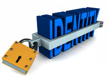 Identity theft protection. Word identity in metal clamp for safety and security of personal information Royalty Free Stock Images