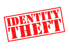 IDENTITY THEFT. Red Rubber Stamp over a white background stock illustration