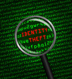 Identity Theft revealed in computer code through magnifying glass. The words Identity Theft revealed in computer machine code through a magnifying glass royalty free illustration