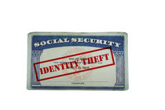 Identity Theft Social Security card. Social security card with Identity Theft text, isolated on white stock images