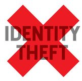 Identity theft stamp. On white background. Sticker or label royalty free illustration