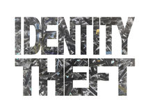 Identity theft text. With shredded paper inverted colour background royalty free illustration
