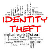 Identity Theft Word Cloud Concept in red & black. Letters with great terms such as privacy, bank, account, numbers, credit cards and more stock illustration