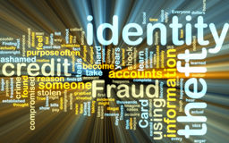 Identity theft wordcloud glowing Royalty Free Stock Images
