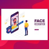 Identity Verification of person vector illustration. Face and voice recognition touch id authorization stock illustration