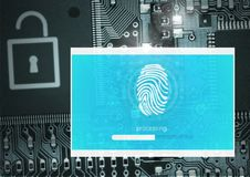 Identity Verify security fingerprint App Interface. Digital composite of Identity Verify security fingerprint App Interface Stock Photography