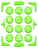 Ideograms of the Chinese zodiac on fantasy background Royalty Free Stock Photos