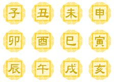 Ideograms of the Chinese zodiac on fantasy background. A colorful image representing the 12 signs of the Chinese zodiac, and that can be used in all those Royalty Free Stock Photos