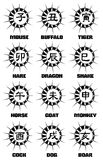 Ideograms of Chinese Zodiac signs tattoo Royalty Free Stock Photo