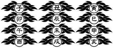 Ideograms of Chinese Zodiac signs tattoo isolated Royalty Free Stock Photo