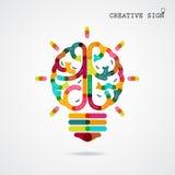 Idéer för funktion för lämnad och höger hjärna för idérik infographics på bac Royaltyfri Foto