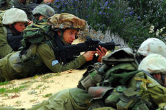 IDF -  Israeli Infantry Corps. WESTERN NEGEV, ISR - FEB 25:Israeli soldiers with Tavor rifle on Feb 25 2008.It's an Israeli bullpup assault rifle since 2009, it Royalty Free Stock Image