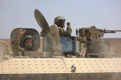 IDF Soldiers in tank making peace sign Stock Photo