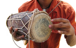 Idian drummer. Isolated. Idian drummer, this is a detail of hands beating the drum royalty free stock images