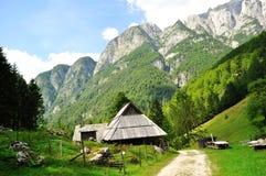 Idilical mountain house Royalty Free Stock Image