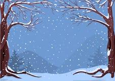 Idilio del invierno en copos de nieve que caen ilustración del vector