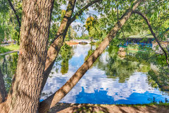 Idillic lake inside Gorky Park, Moscow, Russia Stock Images