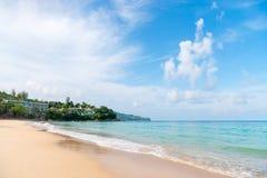 Idillic sand beach with calm blue sea Stock Image