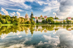 Idillic view of the Novodevichy Convent monastery in Moscow, Rus Royalty Free Stock Images