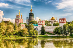 Idillic view of the Novodevichy Convent monastery in Moscow, Rus Stock Images