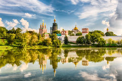 Idillic view of the Novodevichy Convent monastery in Moscow, Rus Stock Photo