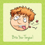 Idiom bite your tongue Stock Image