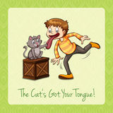 Idiom cat got your tongue Royalty Free Stock Photography