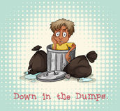 Idiom down in the dumps Stock Photos