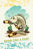 Idiom drink like a fish Stock Photography
