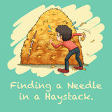 Idiom finding a needle in a haystack Stock Photography