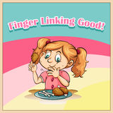 Idiom finger licking good Royalty Free Stock Images