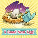 Idiom good nest egg. Illustration Royalty Free Stock Photo