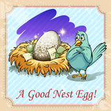 Idiom good nest egg. Illustration Royalty Free Stock Photography
