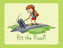Idiom hit the road Stock Images